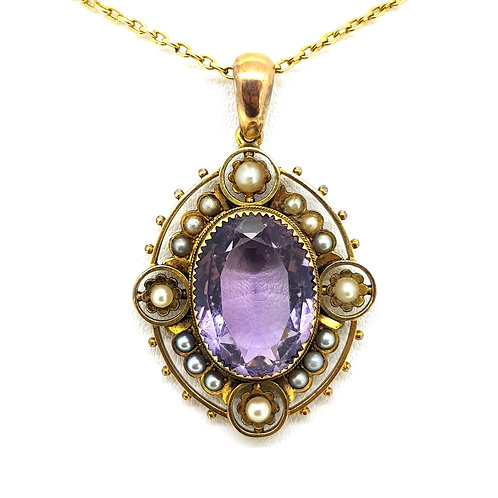 Amethyst and pearl Victorian pendant