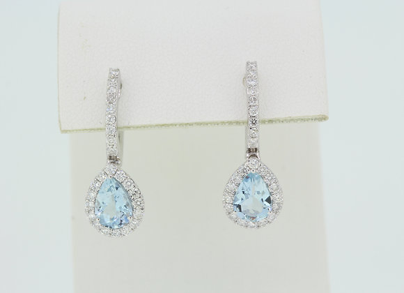 Aquamarine and diamond earrings a1.27cts d.54cts