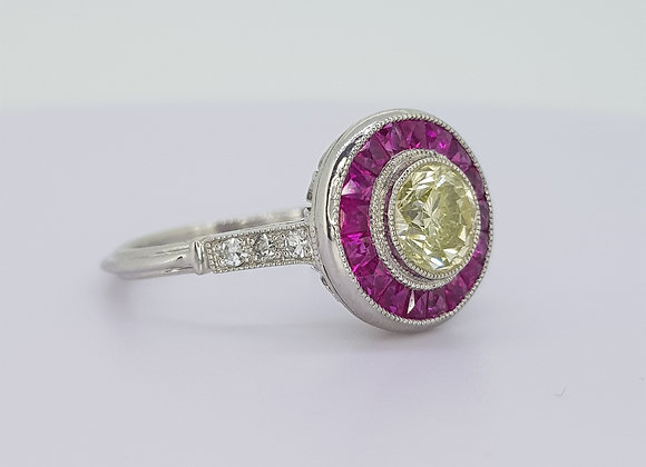 Art Deco style diamond and ruby target ring.