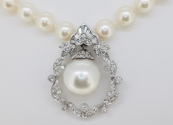 Southsea and cultured pearl and diamond necklace and pendant