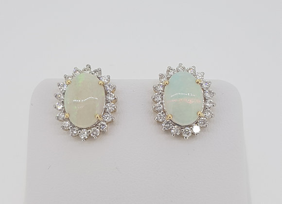 Opal and diamond cluster earrings 0p est 4.0cts