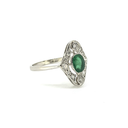 Art Deco Emerald and Diamond ring est. E0.60Cts D0.30Cts
