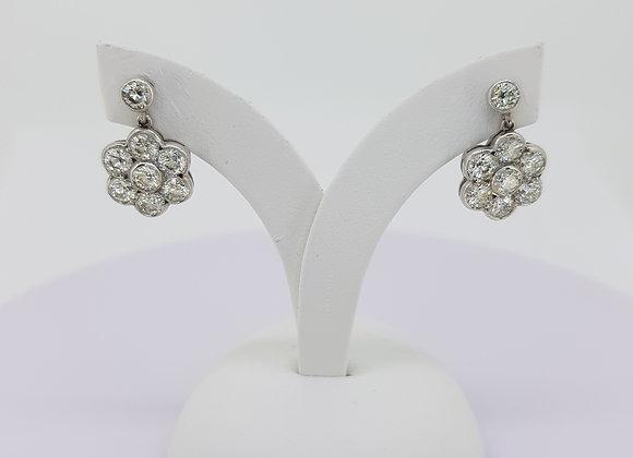Daisy diamond cluster earrings tdw1.95cts