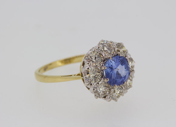 Sapphire and diamond cluster ring a1.30cts d1.80cts
