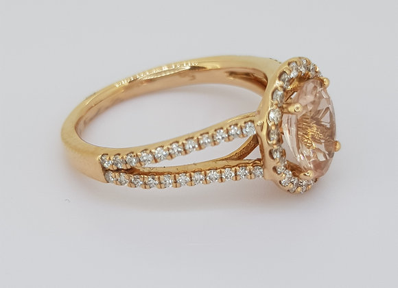 Morganite and diamond cluster rose gold ring mg1.10cts d0.40cts