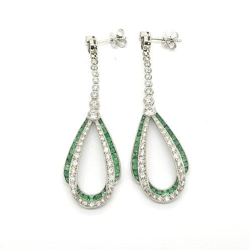 Emerald and diamond platinum earrings