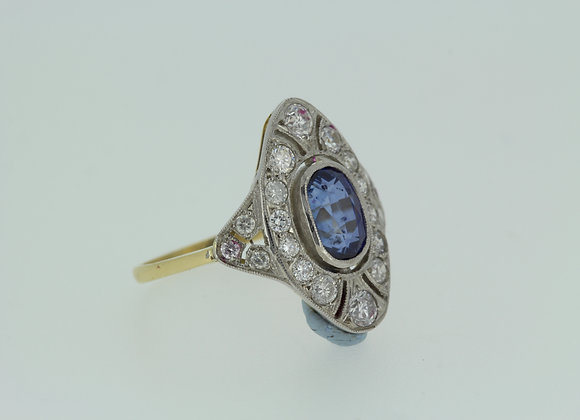 Sapphire and diamond deco style ring platinum d.95cts s2.0cts.