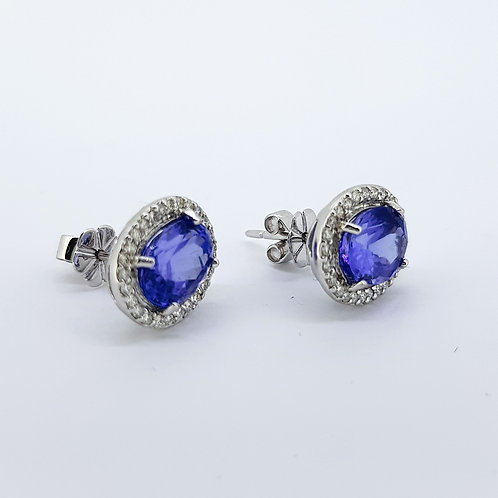 Tanzanite and diamond cluster earrings Tz4.58Cts D0.60Cts