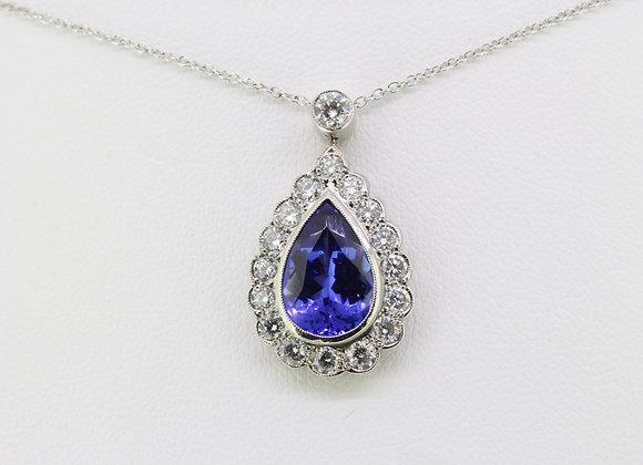 Tanzanite and diamond pendant Tz3.50cts d1.0cts