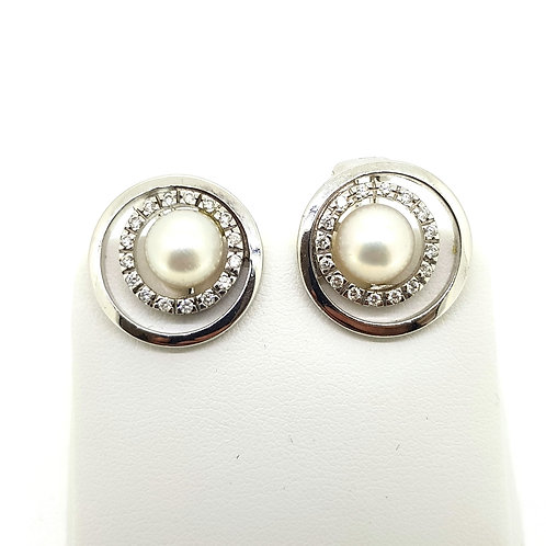 Pearl and diamond cluster earrings 14Ct
