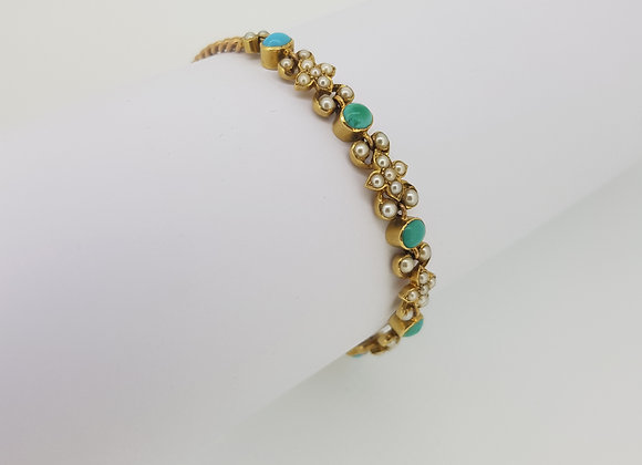 Antique Turquoise and Pearl bracelet.