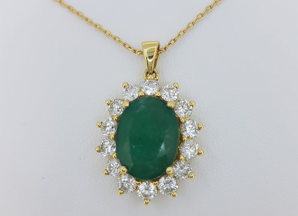 Emerald and diamond cluster pendant a6.43cts d2.62cts
