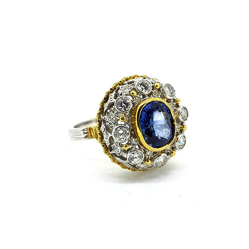 Sapphire and diamond cluster dome ring S5.20Cts est D1.0Cts