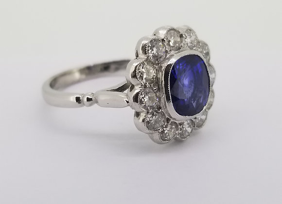 Sapphire and diamond cluster ring.