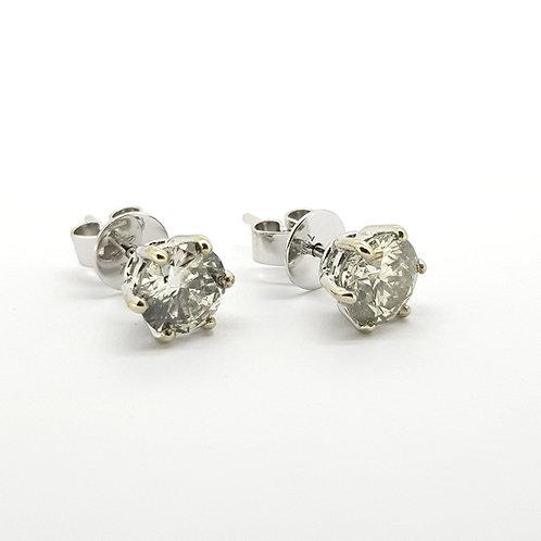 6 Claw diamond studs TDW2.11Cts