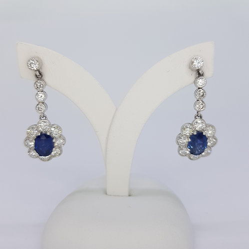 Sapphire and diamond cluster drop earrings S2.40CTS D2.0CTS