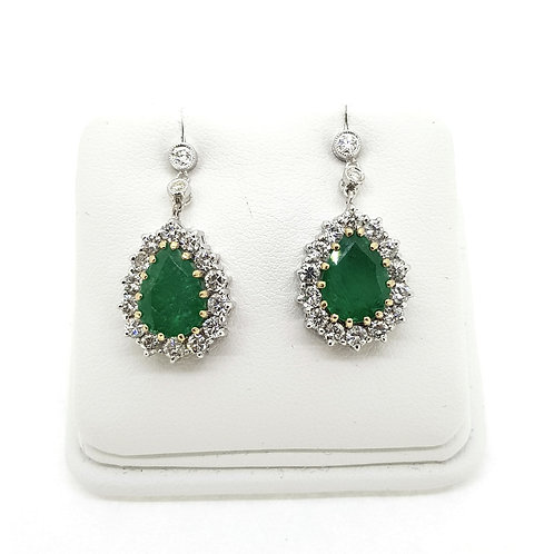 Emerald and diamond cluster drop earrings 18Ct
