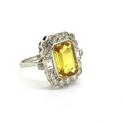 Yellow sapphire and diamond cluster ring YS4.0CTs D0m95Cts platinum