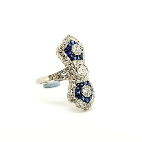 Sapphire and diamond Art Deco style ring.