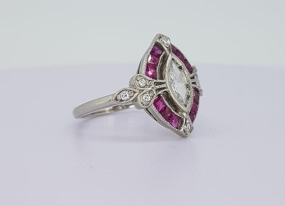 Platinum and diamond deco style ring
