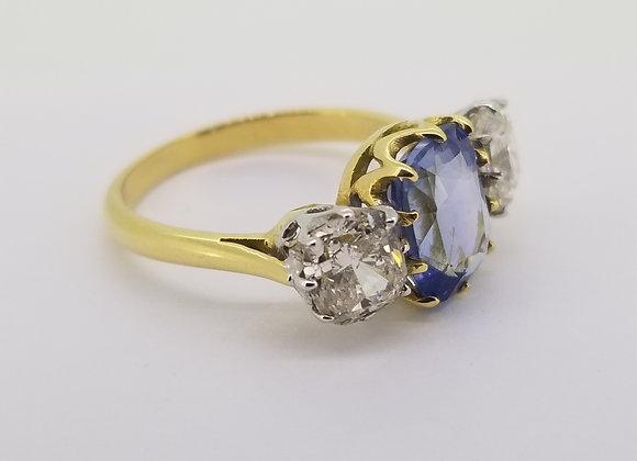 Sapphire and diamond three stone.