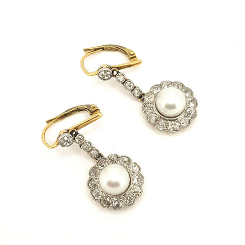 Victorian pearl and diamond drop earrings est. D2.80CTS