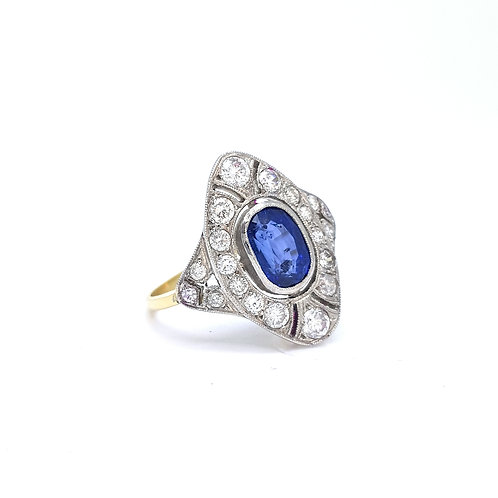 Sapphire and diamond deco style ring S2.0CTS D1.60CTS
