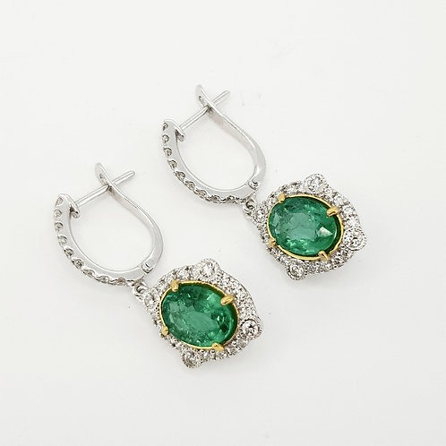 Emerald and diamond drop earrings E2.21cts D0.71cts