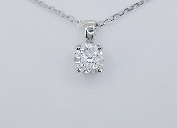 Solitaire diamond pendant and chain 0.80cts