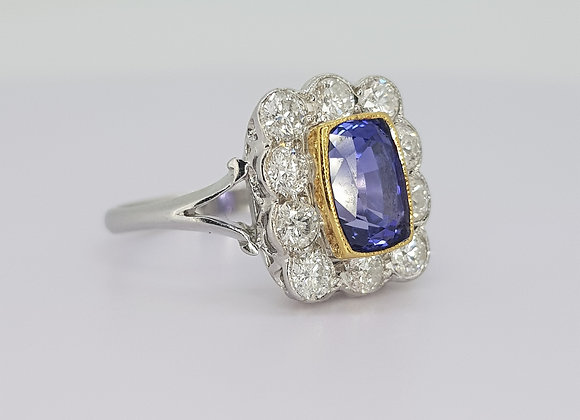 Natural sapphire and diamond cluster ring s2.16cts d0.98cts
