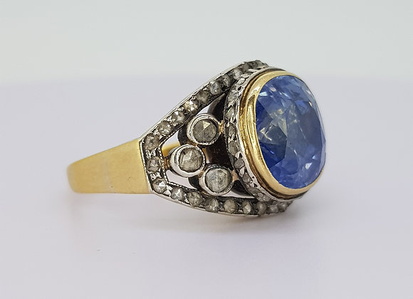 Victorian natural sapphire and rose cut diamonds
