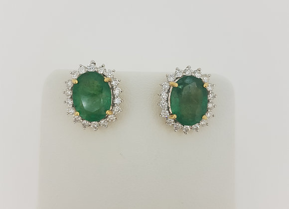 Emerald and diamond cluster earrings e5.07cts d0.84cts