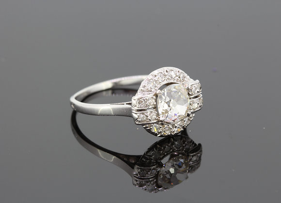French platinum and diamond cluster ring vintage