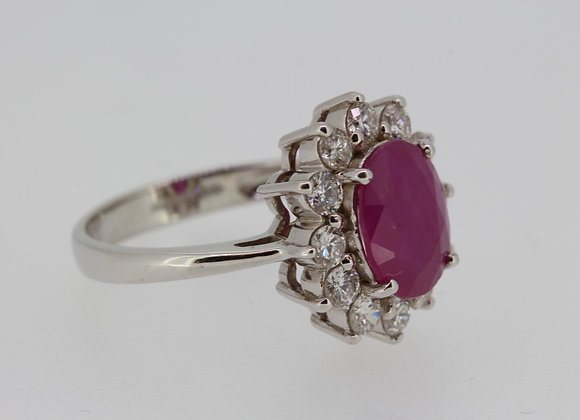Ruby diamond cluster ring est R3.0cts d1.0cts