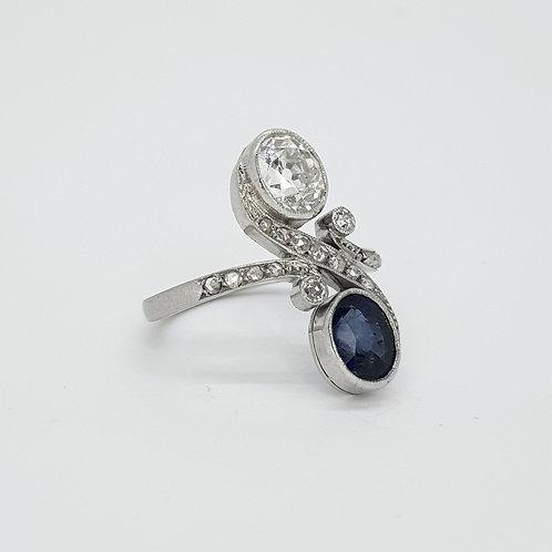 Art nouveau sapphire and diamond cross over ring
