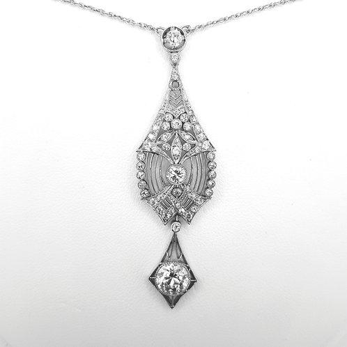 Platinum Belle Epoque  pendant and chain drop, estimated 1.5 carats