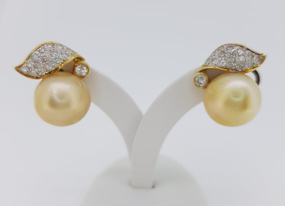 Golden south sea pearl and diamond earrings.