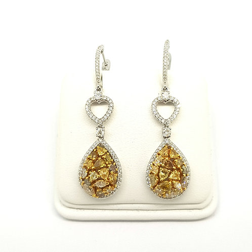 Fancy yellow and white diamond drop earrings.