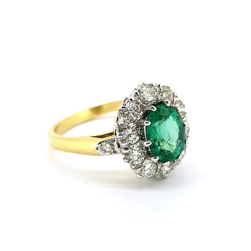 Emerald and diamond cluster ring E1.0Ct D1.25Cts