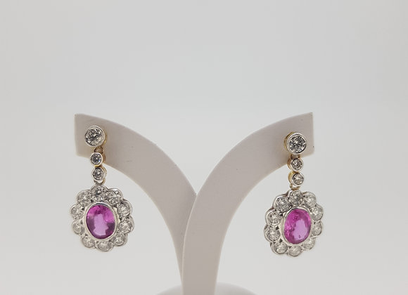 Pink sapphire and diamond cluster earrings ps2.70cts d2.51cts
