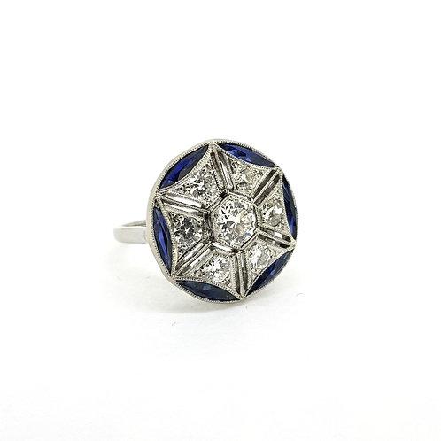 Platinum French  sapphire and diamond ring