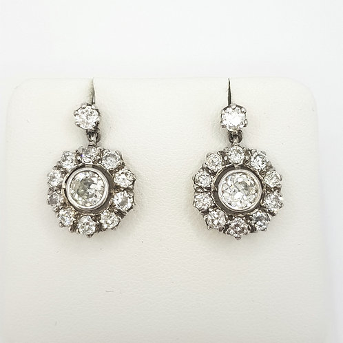 Antique Diamond cluster earrings,  est 2.50cts