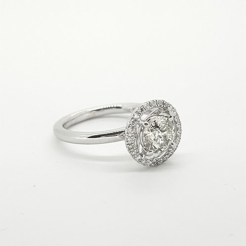 Fixed Halo diamond ring 18ct D1.30Cts plus mount