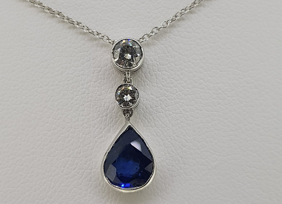 Sapphire and diamond pendant d.35cts s1.50cts