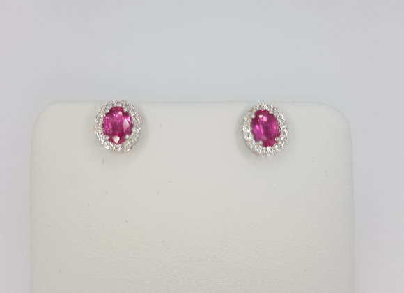 Pink sapphire and diamond cluster earrings ps0.73cts d0.14cts