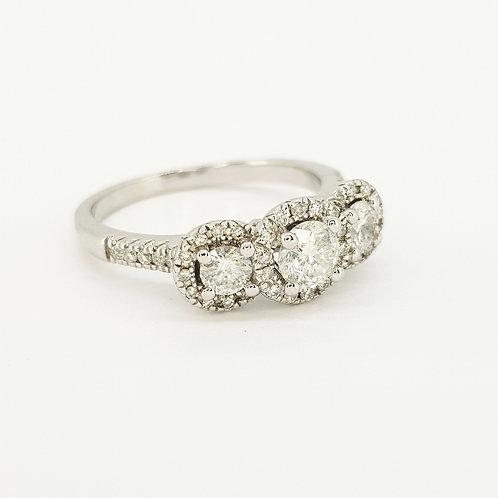 Three stone diamond cluster ring estimated diamonds 1.0CTS
