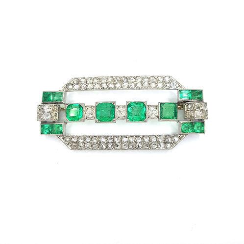 Columbian emerald and diamond  brooch
