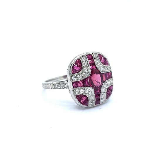 Ruby and diamond art deco style platinum ring.