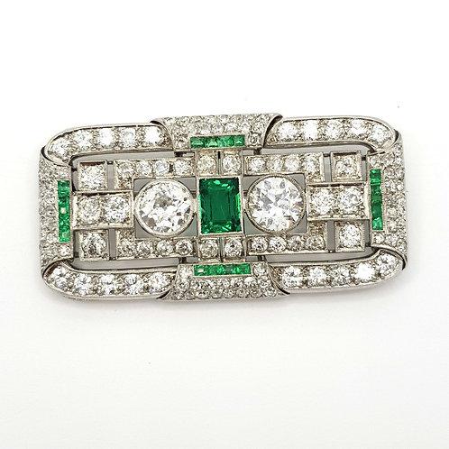 Platinum diamond and emerald brooch