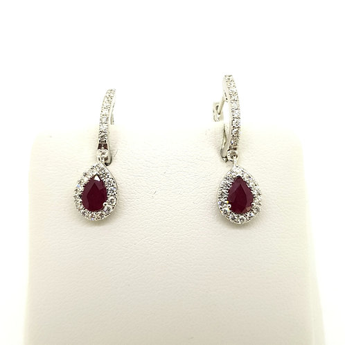 Ruby and diamond cluster earrings R1.02Cts D0.45Cts